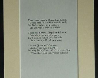 Vintage Rudyard Kipling Print of a 'Just So Stories' Poem about Butterflies Queen of Sheba decor, King Solomon poetry print - Poetry Gift