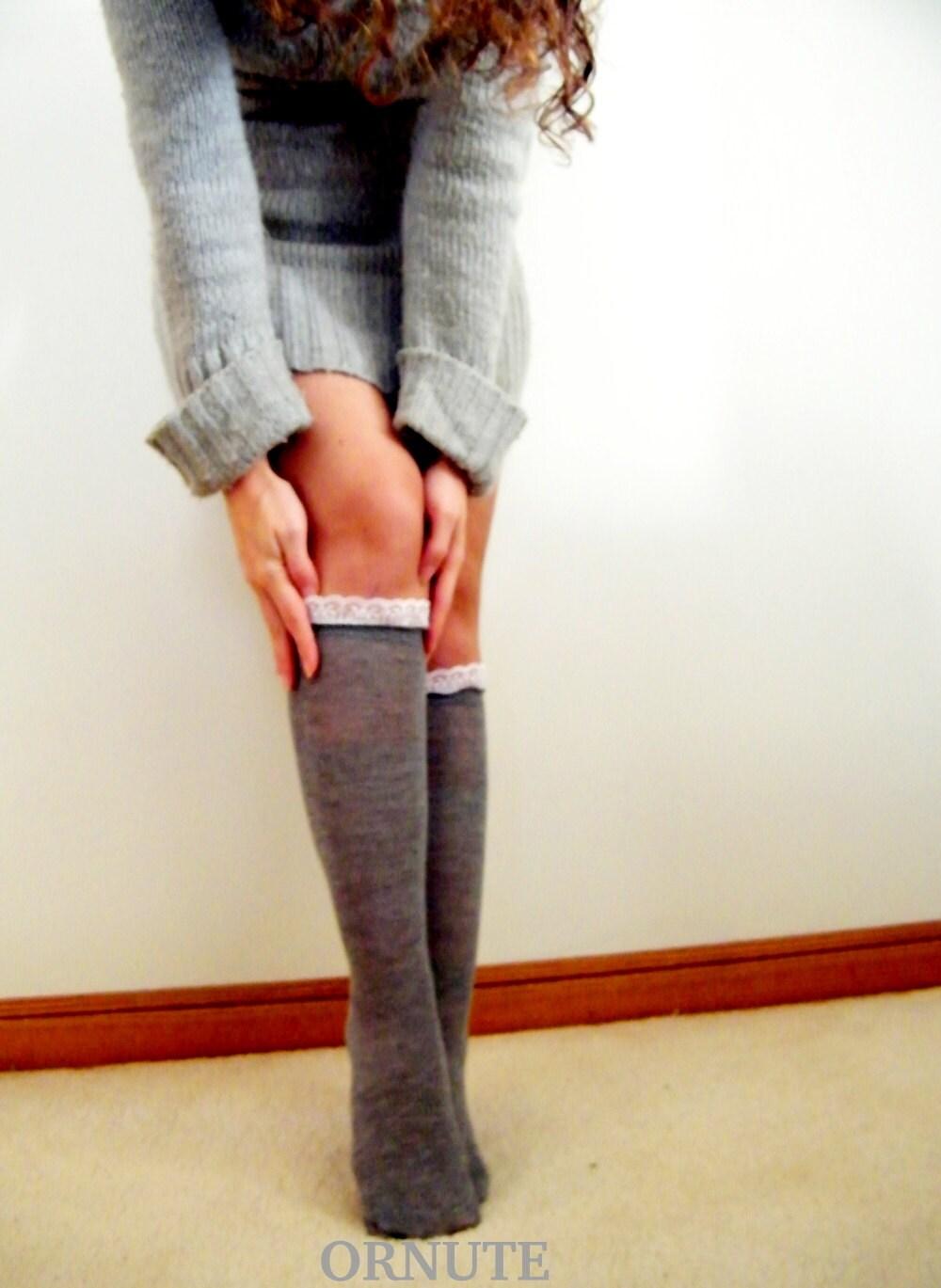 grey knee high lace boot socks womens boot socks knee