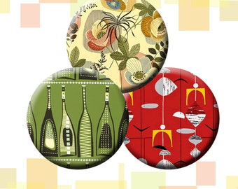 "FIFTIES RETRO -  30 x 1"" size images for glass and resin pendants, bottle caps, round bezel trays, etc.  Instant Download #48."