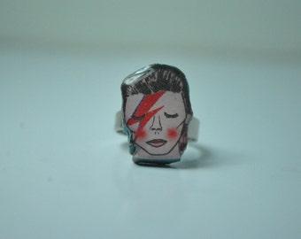 hand made david bowie/ziggy stardust ring