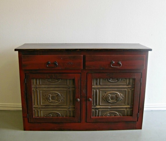 Small hall or entry table storage cabinet shown in barn red - Entrance table with storage ...