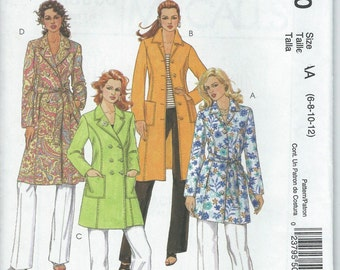 Womens Coat Jacket Belt Sewing Pattern M5060 Misses Petite Lined Fitted Pattern Sizes 6 8 10 and 12 New and Uncut