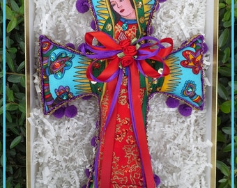 EXCLUSIVE--Showstopping Handcrafted Lady of Guadalupe Virgen de Guadalupe Sequined Comfort Cross