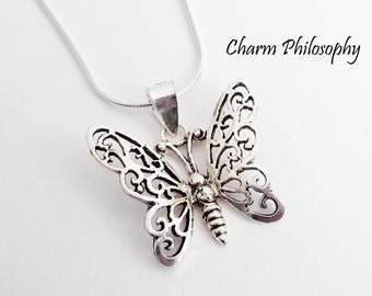 Butterfly Necklace - 925 Sterling Silver Jewelry - Butterfly Pendant