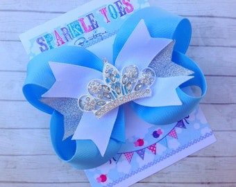 Cinderella Bow - Baby Blue Bow - Princess Party - YOU PICK COLOR - Cinderella Party - Girls Hair Bows - Toddler, Infant, Big girls Bow