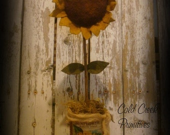 Primitive Tall Sunflower Inside a Rusty Can