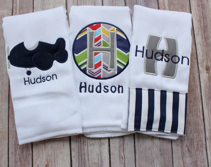 Monogrammed Burp Cloth Set, Custom Burp Cloth Set, Personalized Burp, Airplane Burp, Boy's Burp Cloth, Baby Boy, Baby Shower Gift, New Baby