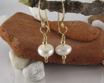 Freshwater Pearl Earrings - Sterling Silver Jewelry  - Pearl Gold filled Earrings -   Bridesmaids Pearl