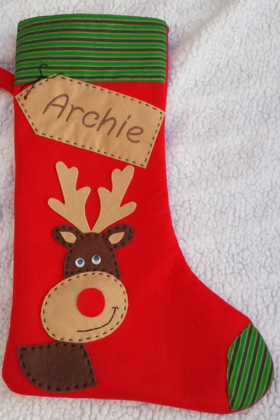 Personalized christmas stocking handmade by margaridaworkshop for Custom made christmas stockings