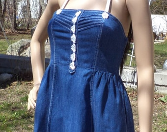 Summer Dress - Denim Repurposed, Upcycled, Recycled Clothing - Size Small