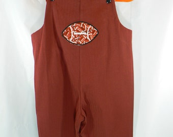 Long Overalls Rusty Brown herringbone twill
