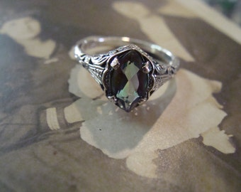 Sweet Sterling Silver Art Deco Mystic Topaz Marquis Ring  Size 5.75