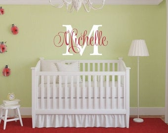 Girls Name Wall Decal - Childrens Wall Decals - Nursery Wall Decal - Baby Wall Decals - Monogram Wall Decal