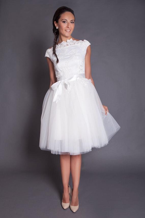 des années 50 courte robe de mariée dentelle, robe de mariée courte ...