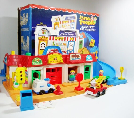 fisher price toys little people main street play by sheavesretro. Black Bedroom Furniture Sets. Home Design Ideas