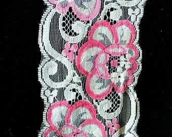 White And Pink Rose Floral Net Lace Trim Ribbon 85mm wide - 041203L39