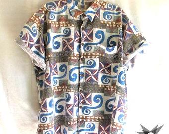 Vintage 1990's Men's Kahala Aloha Hawaiian Tribal Button Front Short Sleeve Shirt Size XL
