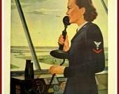 Art Print US Navy, WAVES,  atc Recruiting Advert Print, 1940s, World War II