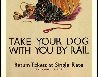 Dog by Train Travel Poster -  1930s.  Print 8 x 10