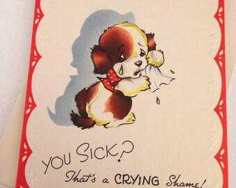 Vintage Greeting Card - Get Well Card - Puppy Dog Get Well Card - Animal Card, 1940s Card,  - Unused Card with Envelope