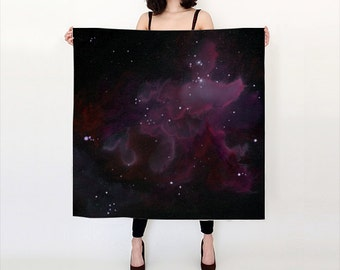 Purple Nebula Luxurious Silk Scarf, large and versatile, printed with original art - two sizes available