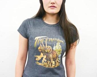 Triceratops Women's Dinosaur t-shirt, Ladies Dinosaur top, Dinosaur tee, Dinosaur shirt, Dinosaurs, Ladies T-shirt, Women's, Wildlife,New