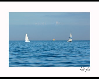 Lake Michigan 4 Sailboats Fine Art Photograph, Wall Art, Home Decor Photo, Lake Image, Gift, Nature Print, Sail Boat Photo, Chicago Image