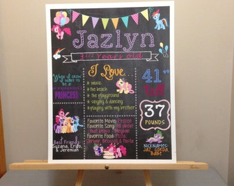My Little Pony Birthday Chalkboard