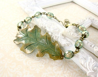 Green and Bronze Oak Leaf Bracelet - Hand Painted Jewelry - Patina Jewelry - Nature Jewelry - Sage Forest Green Antiqued Brass Gold Bracelet