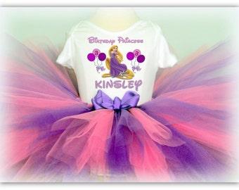 Tangled Rapunzel Birthday Tutu Outfit - Girly Style Shirt