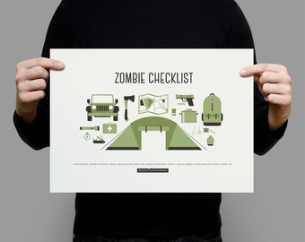 Zombie Checklist Poster - 14 items for the zombie apocolypse