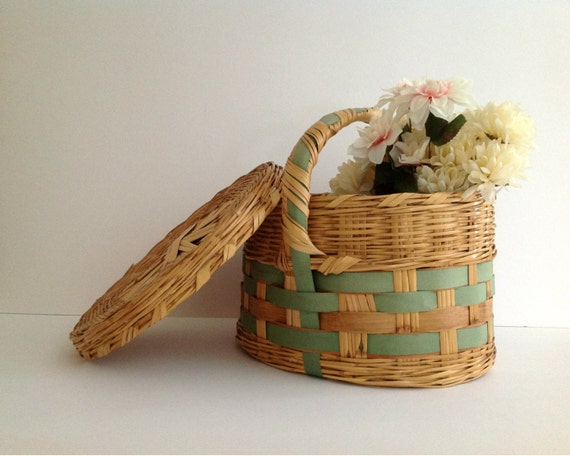 Vintage Large Oval Hand Woven Wicker Basket with Lid and Handle, Deocrated with Green Grosgrain Ribbon