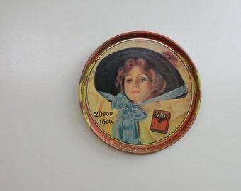 Vintage Metal Tray. Satin Turkish Blend Cigarettes 1920's Style