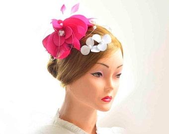 Large fascinator hat  Fuchsia and white wedding headpiece  Flower headpiece Wedding fascinator Wedding hair flower