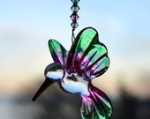 Blown Glass Hummingbird Crystal Suncatcher Pink and Green Swarovski Crystals Window Decoration Christmas Tree Ornament Car Mirror Dangle