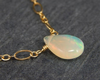 African fire opal necklace, gold necklace, delicate necklace, simple necklace