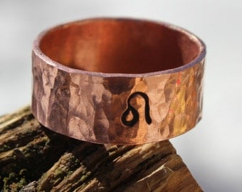 Zodiac Copper Ring, Wide Band, Men Copper Ring, Women Copper Ring, Stamped Copper Ring, Copper Ring Band, Hand forged Reclaimed Copper Metal