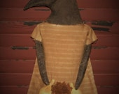 Primitive Crow, Primitive Doll, Primitive Crow Doll, Crow Doll, Dried Gourds, Dried Sunflower, Cotton Homespun, OFG, FAAP, HAFAIR