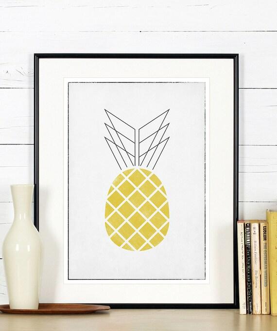 Affiches r tro de fruits art de la cuisine ananas design - Affiche cuisine retro ...