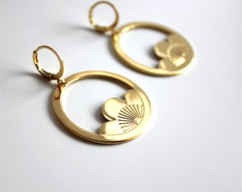 Creole Lotus earrings gold fine gold