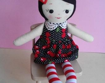 Rockabilly Ragdoll - Handmade cloth doll alternative girl doll plush toy Rag Doll