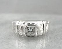 Square Cut Diamond And Retro Era Men's White Gold Ring HE1XVZ-R