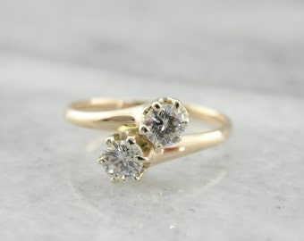 Vintage Diamond Bypass Ring In Yellow Gold 6D84V7-R