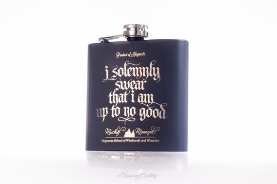 Marauder's Map - I solemnly swear that I am up to no good- Mischief Managed, Harry Potter inspired - 6oz Engraved (Black Matte) Flask