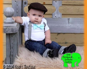 Baby Boy Photo Outfit - Newborn Boy Outfit - Baby Boy Clothes - Black Chevron Aqua Bow - Suspenders Bow Tie - Photo Prop - Cute Baby Clothes