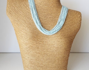 Light sky blue necklace, pastel blue necklace,multistrand necklace,bridesmaid necklace,bridesmaid gift, baby blue,seed bead jewelry,gift