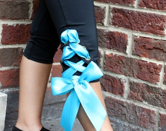 Girls dance clothes, dancewear, lace-up capri pants, black with grommets and teal double-sided satin ribbon
