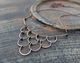 "Antique copper statement necklace ""Undine"", bib oxidized copper necklace, rustic, metalwork, scale,cascade necklace, handforged"