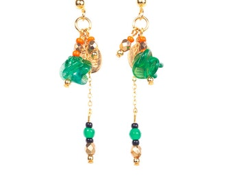 Earrings XINGDU green and golden