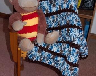 Handmade Brown & Blue Variegated Striped Baby Afghan